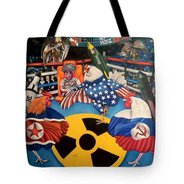 The Chickens Fight Tote Bag