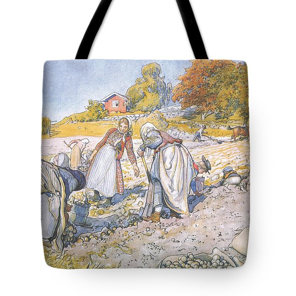 The Children Filled The Buckets And Baskets With Potatoes Tote Bag by Carl Larsson