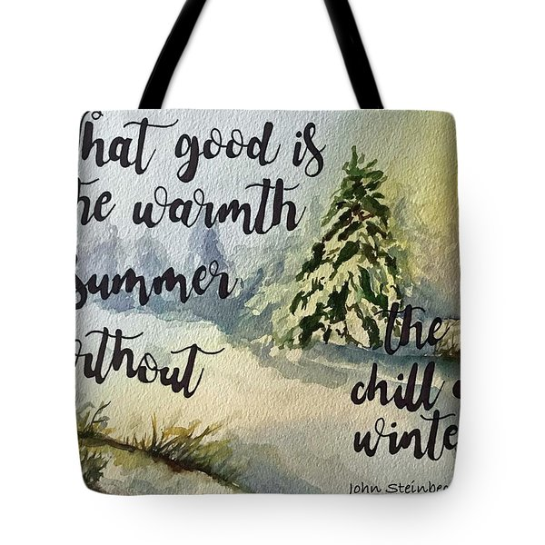 Tote Bag featuring the painting The Chill Of Winter by Diane Fujimoto