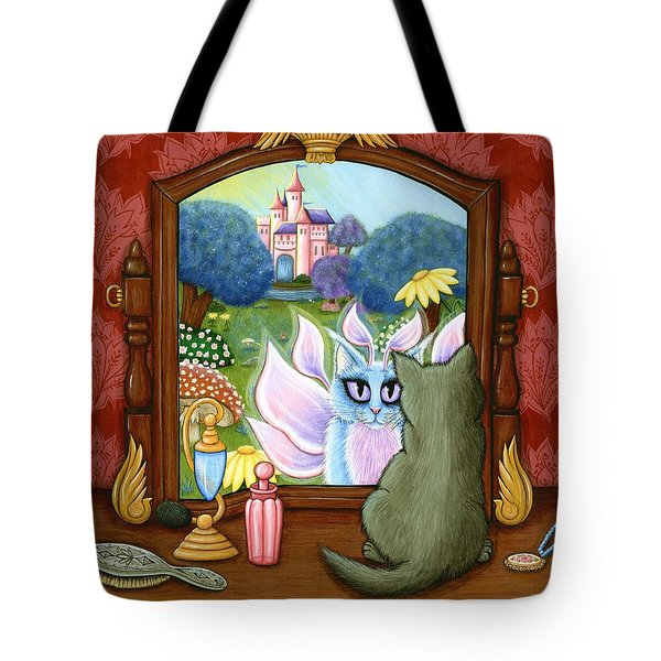 Tote Bag featuring the painting The Chimera Vanity - Fantasy World by Carrie Hawks