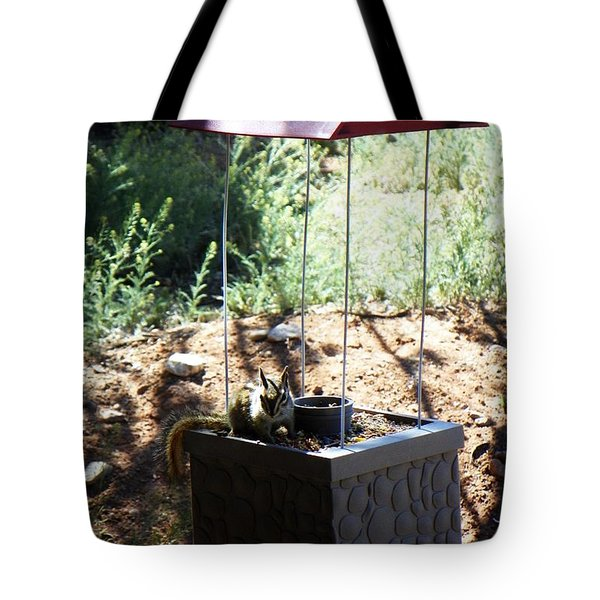 The Chipmunk And The Well Tote Bag by Joseph Frank Baraba