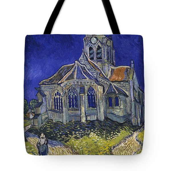 Tote Bag featuring the painting The Church At Auvers by Van Gogh