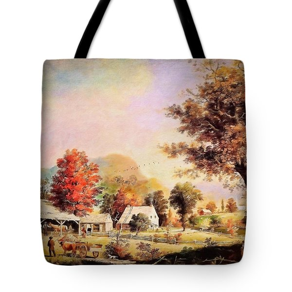 Tote Bag featuring the painting The Cider Press - After Durrie by Lianne Schneider