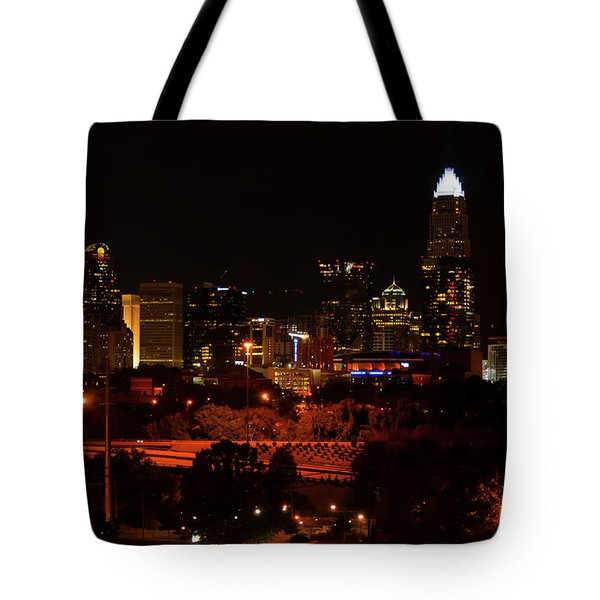 Tote Bag featuring the digital art The City Of Charlotte Nc At Night by Chris Flees