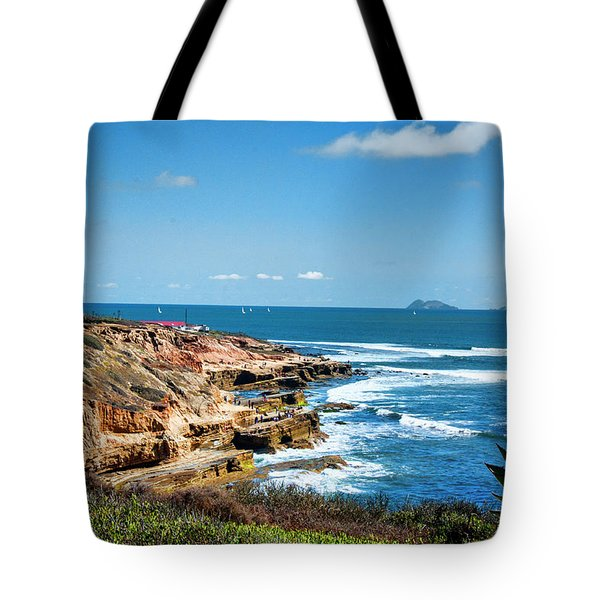 The Cliffs Of Point Loma Tote Bag by Daniel Hebard