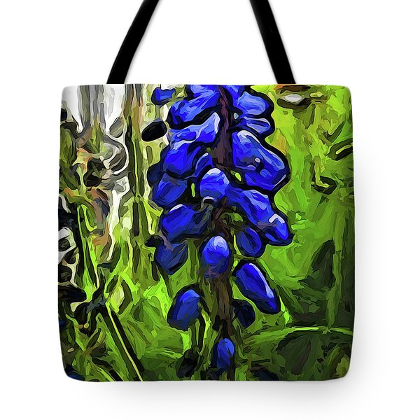The Cobalt Blue Flowers And The Long Green Grass Tote Bag