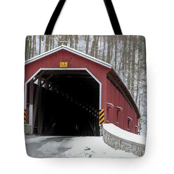 The Colemansville Covered Bridge In Winter Tote Bag