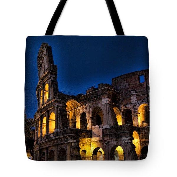 The Coleseum In Rome At Night Tote Bag