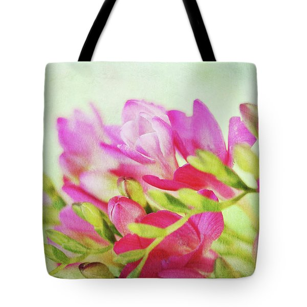Tote Bag featuring the photograph Colour Full Freesia by Connie Handscomb
