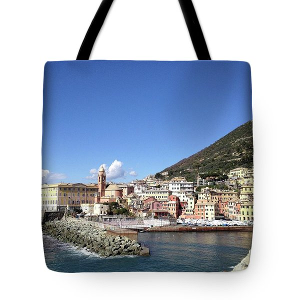 The Colourful Harbour In Genoa Nervi Tote Bag