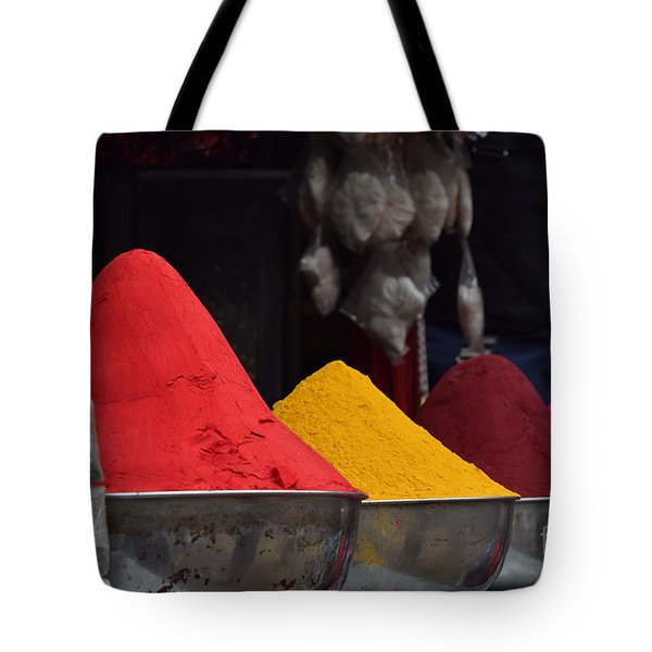 The Colours Of Holi Tote Bag by Mini Arora
