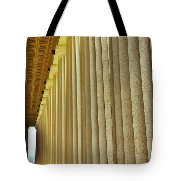 Tote Bag featuring the photograph The Columns At The Parthenon In Nashville Tennessee by Lisa Wooten