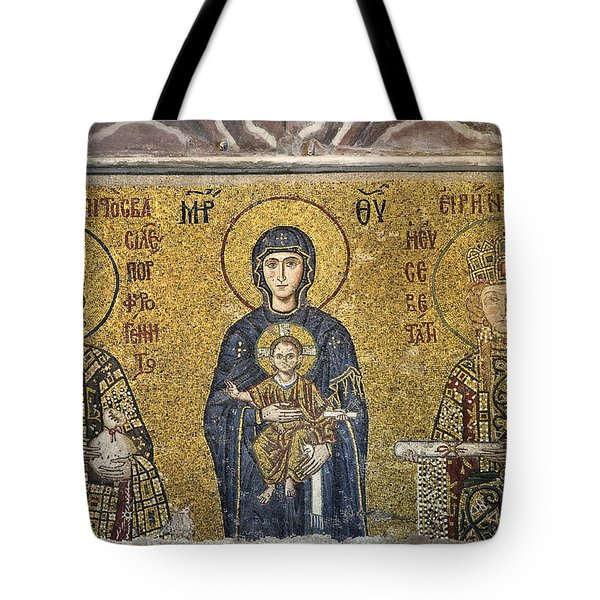 The Comnenus Mosaics In Hagia Sophia Tote Bag by Ayhan Altun