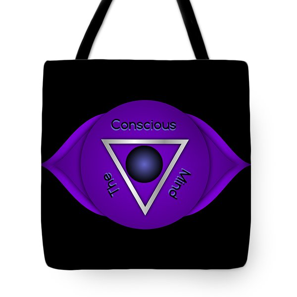 Tote Bag featuring the digital art The Conscious Mind - Brow Chakra Art Print - Conscious Quote Prints  by Ai P Nilson