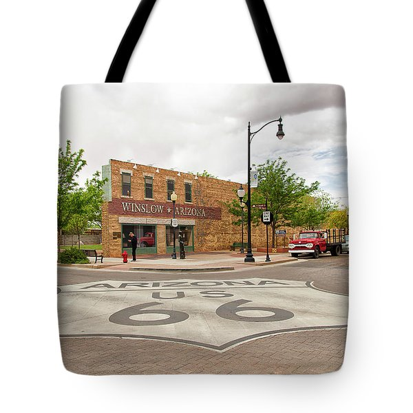 The Corner In Winslow Tote Bag