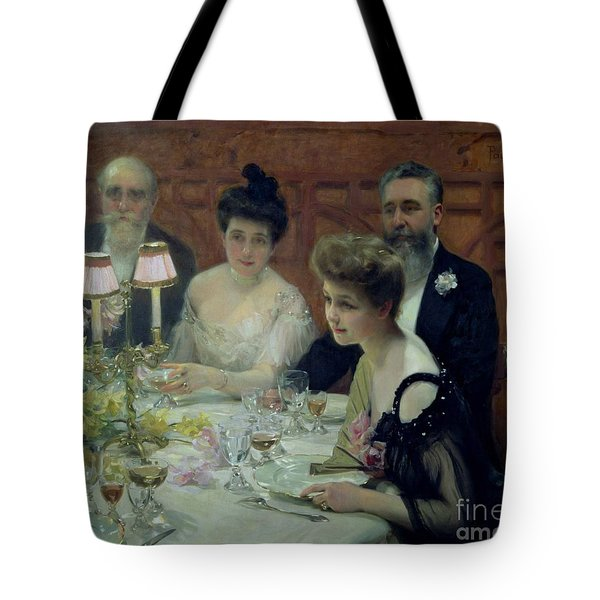 The Corner Of The Table Tote Bag by Paul Chabas