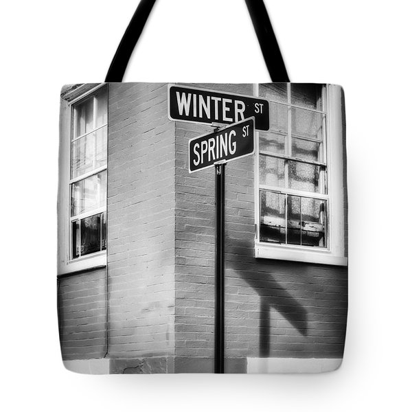 The Corner Of Winter And Spring Bw Tote Bag