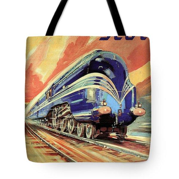 The Coronation Scot - Vintage Blue Locomotive Train - Vintage Travel Advertising Poster Tote Bag