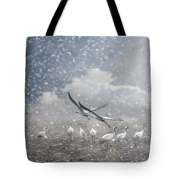 the cranes of Fischland Tote Bag