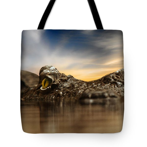Tote Bag featuring the photograph The Crocodile by Christine Sponchia