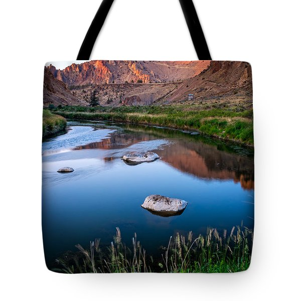 Tote Bag featuring the photograph The Crooked River Runs Through Smith Rock State Park  by Bryan Mullennix