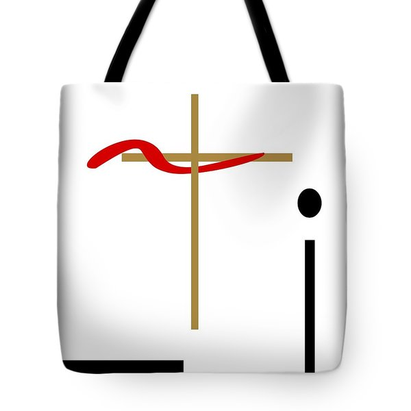 Tote Bag featuring the mixed media The Cross by Jessica Eli