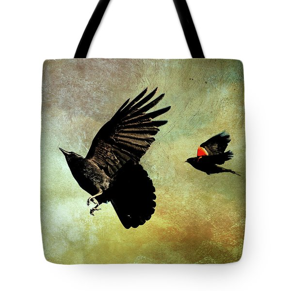 Tote Bag featuring the photograph The Crow And The Blackbird by Peggy Collins