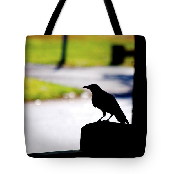 Tote Bag featuring the photograph The Crow Awaits by Karol Livote