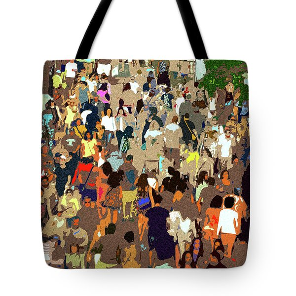 Tote Bag featuring the painting The Crowd by David Lee Thompson