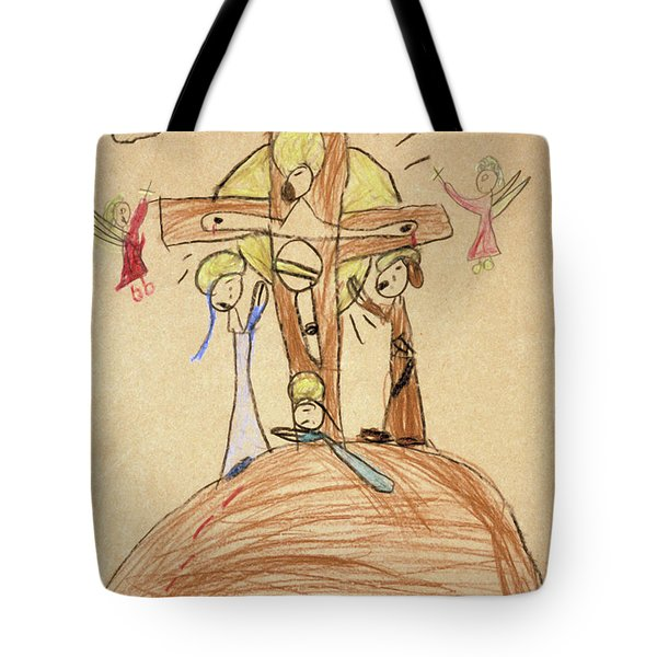 Tote Bag featuring the drawing The Crucifixion By Fr. Bill At Age 5 by William Hart McNichols