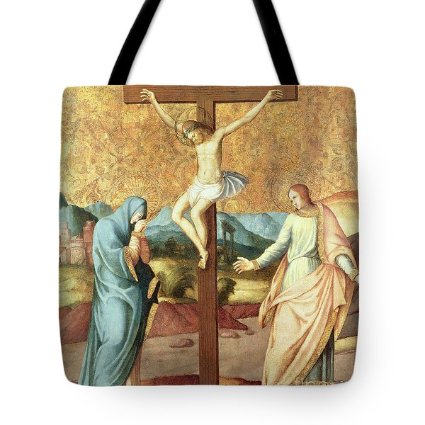 The Crucifixion With The Virgin And St John The Evangelist Tote Bag by French School