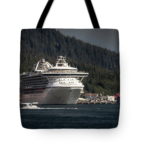 The Cruise Ship And The Plane Tote Bag by Timothy Latta