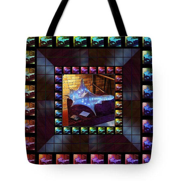 Tote Bag featuring the sculpture The Crystal Shell - Illuminated by Shawn Dall