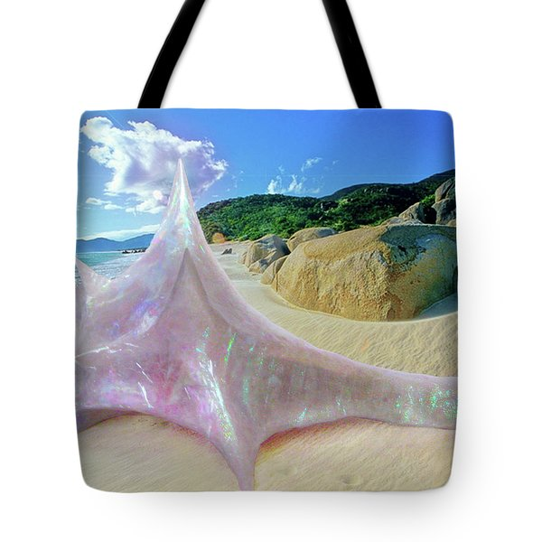Tote Bag featuring the sculpture The Crystalline Rainbow Shell Sculpture by Shawn Dall