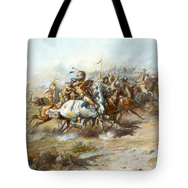 The Custer Fight Tote Bag by Charles Russell