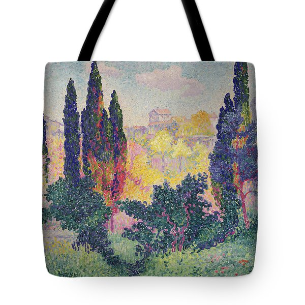 The Cypresses At Cagnes Tote Bag by Henri-Edmond Cross