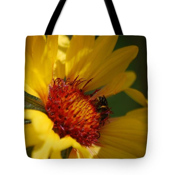 Tote Bag featuring the photograph The Daisy And The Bee by Ramona Whiteaker