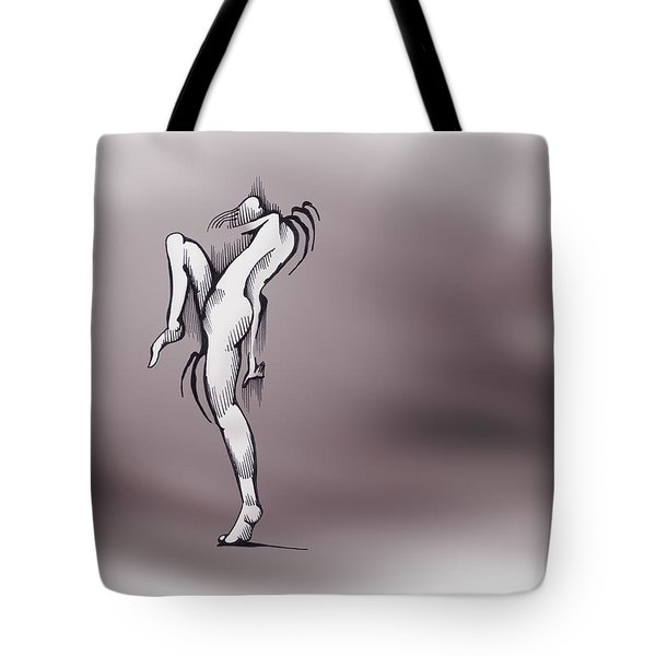 Tote Bag featuring the drawing The Dancer by Keith A Link