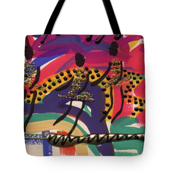 Tote Bag featuring the mixed media The Dancers by Angela L Walker