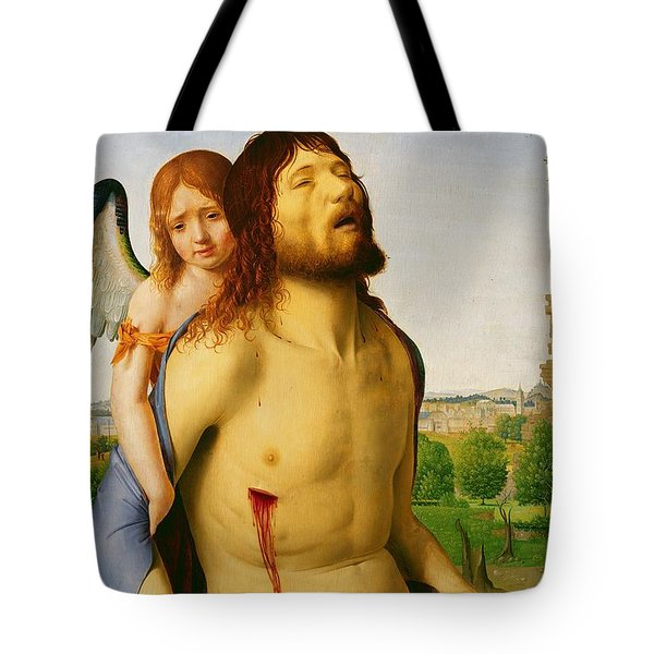 The Dead Christ Supported By An Angel Tote Bag