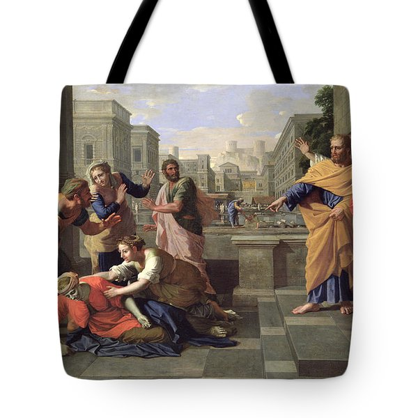 The Death Of Sapphira Tote Bag by Nicolas Poussin