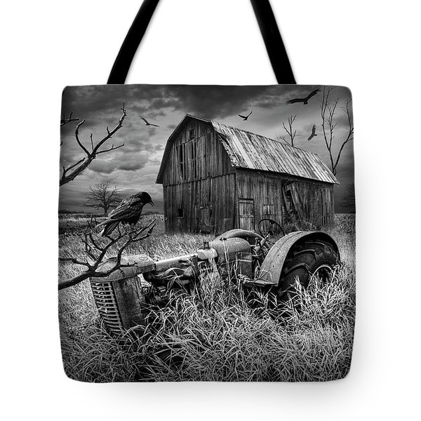 Tote Bag featuring the photograph The Decline And Death Of The Small Farm In Black And White by Randall Nyhof