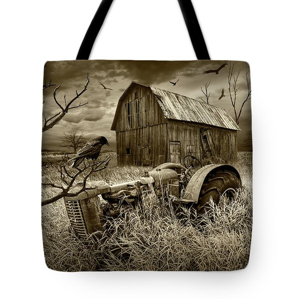 Tote Bag featuring the photograph The Decline And Death Of The Small Farm In Sepia Tone by Randall Nyhof