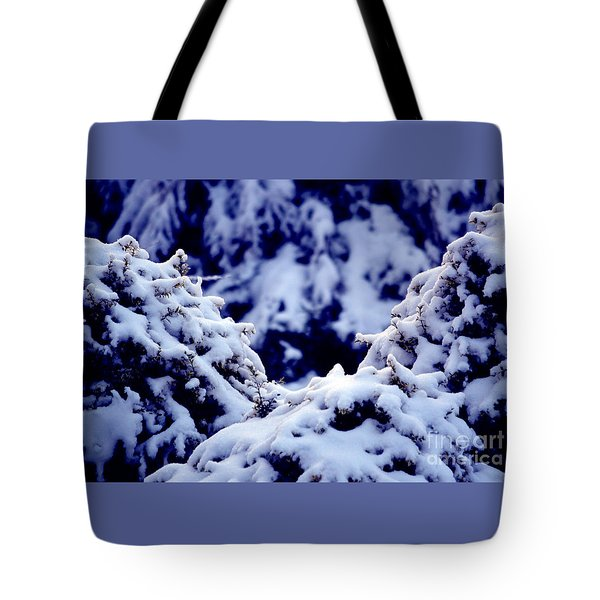 Tote Bag featuring the photograph The Deep Blue - Winter Wonderland In Switzerland by Susanne Van Hulst