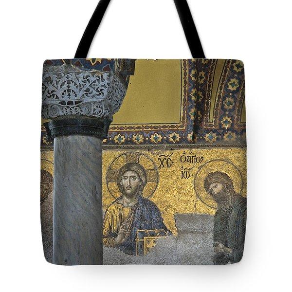 The Deesis Mosaic With Christ As Ruler At Hagia Sophia Tote Bag by Ayhan Altun