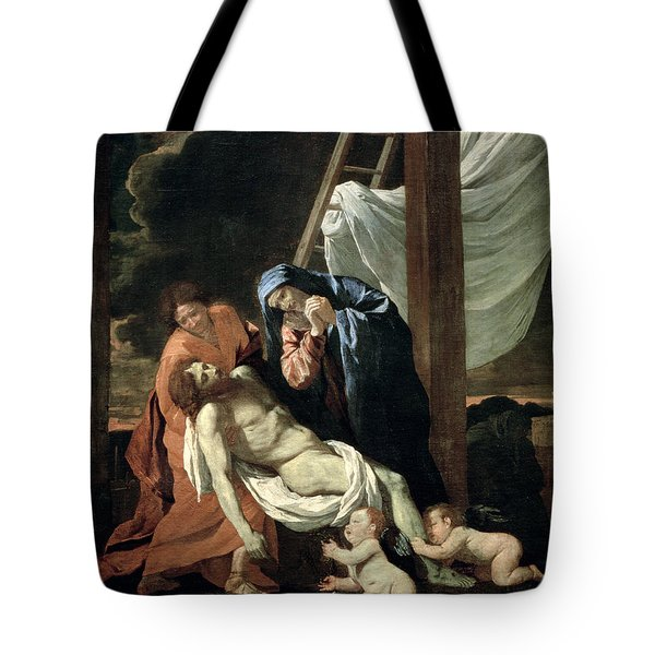 The Deposition Tote Bag by Nicolas Poussin