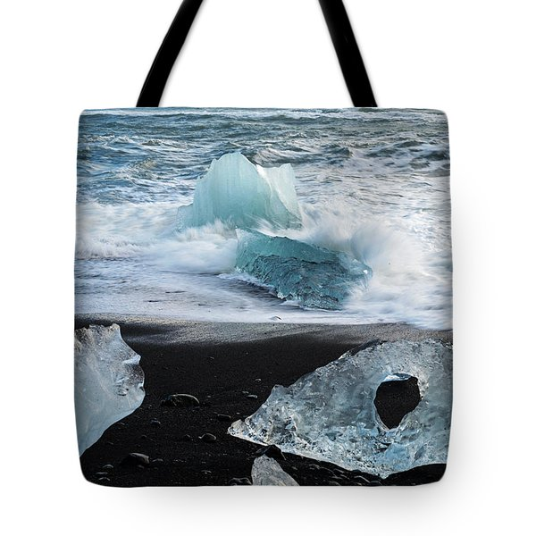 Tote Bag featuring the photograph The Diamond Beach, Jokulsarlon, Iceland by Dubi Roman