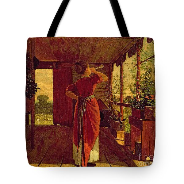 The Dinner Horn Tote Bag by Winslow Homer