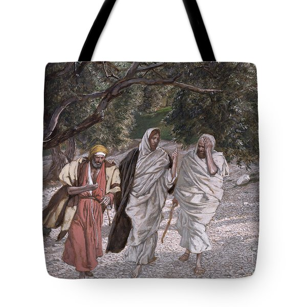 The Disciples On The Road To Emmaus Tote Bag by Tissot