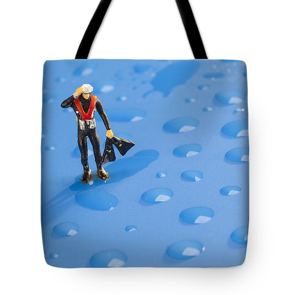 Tote Bag featuring the photograph The Diver Among Water Drops Little People Big World by Paul Ge